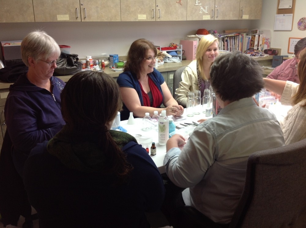 Enjoying the a bath salts craft activity at Our BEST Space last fall.