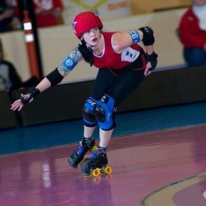 Bettie skater, Sailor Moon, in derby action! Photo credit: Eric Lyons