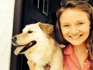 Natasha Pietila poses with her grandmother's dog, Daisy (courtesy photo)