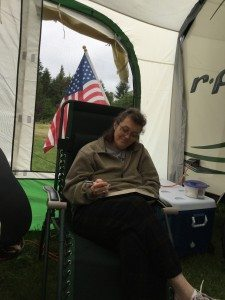 BEST Founder and CVO Penny Condoll relaxing at the campsite.