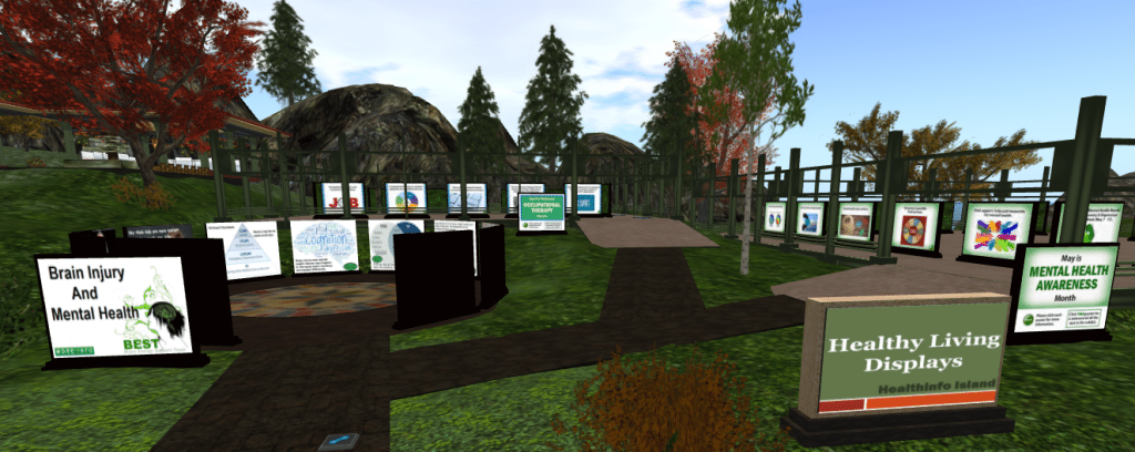 Mental Health Month display at Virtual Ability in Second Life.