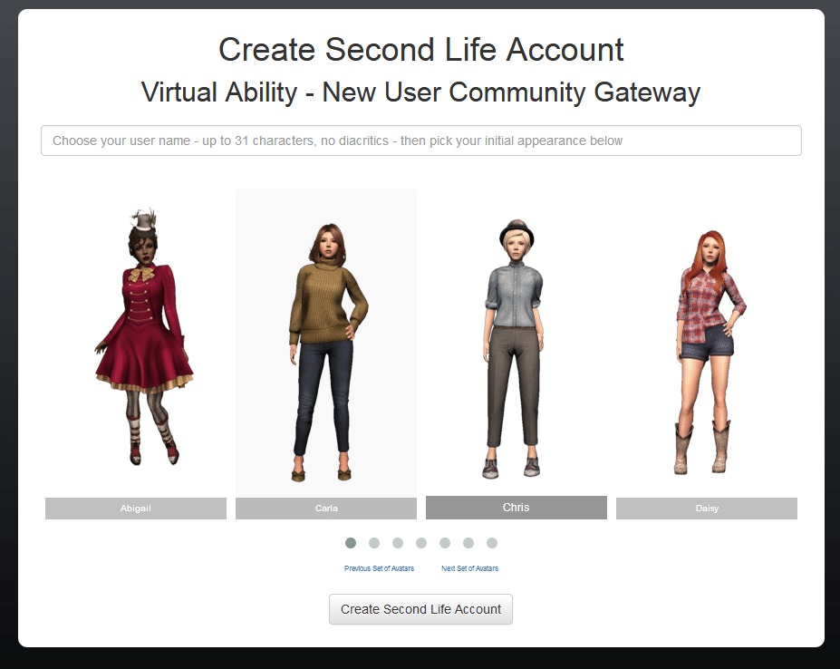 Virtual Ability Second Life Sign Up Page