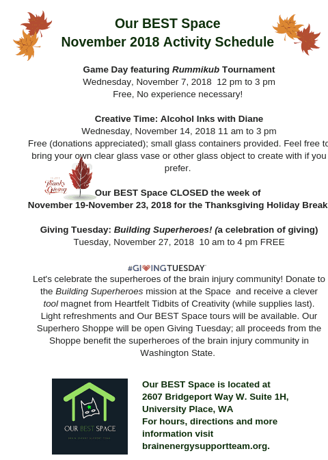 Our BEST Space November 2018 Activity Schedule