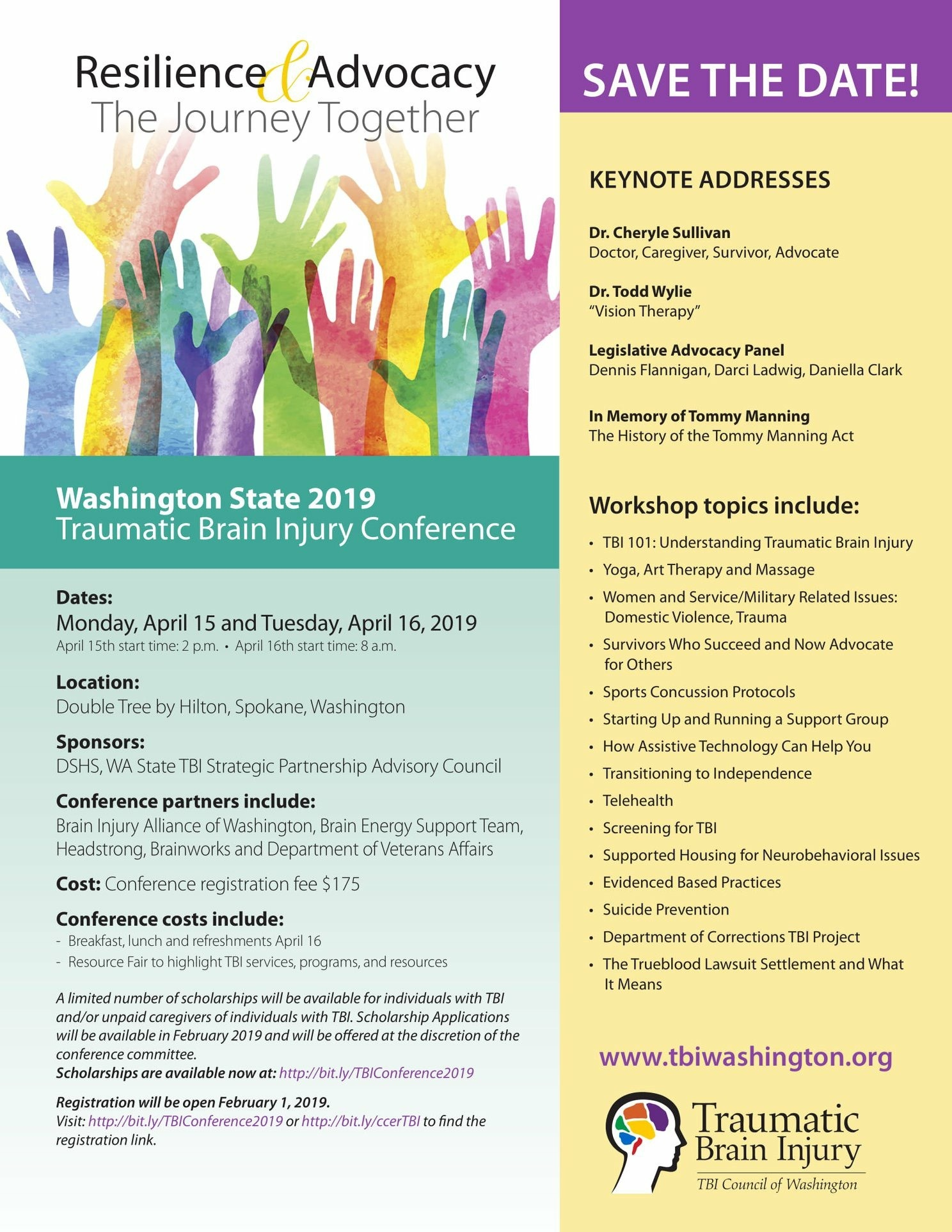WA State TBI Conference: Scholarship Applications Due March 8, 2019