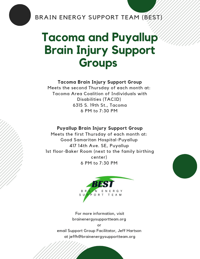 NEW: New Meeting Time for Tacoma and Puyallup Support Groups