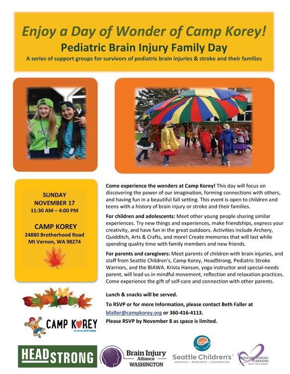 Family Event: Camp Korey in November 2019