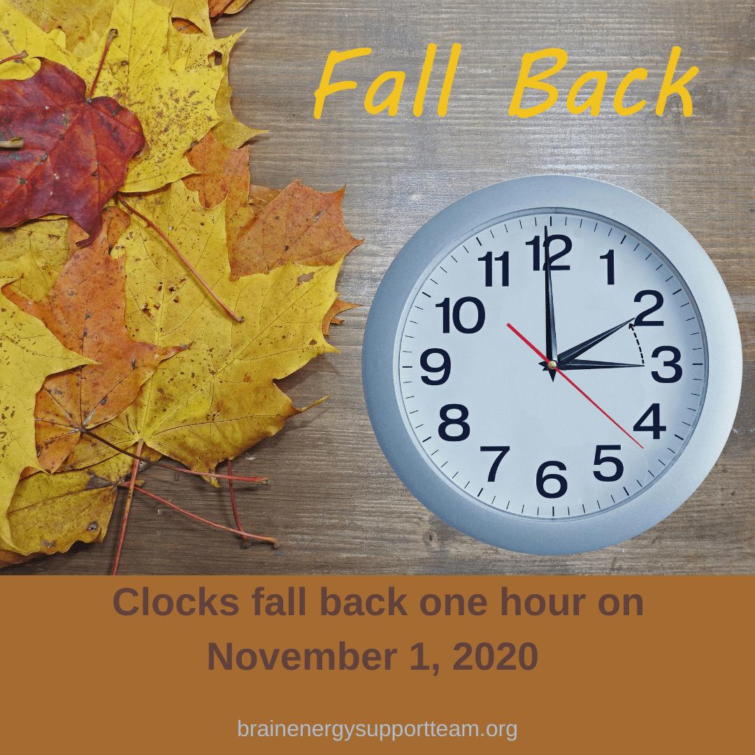 Reminder: Clocks Fall Back November 1, 2020